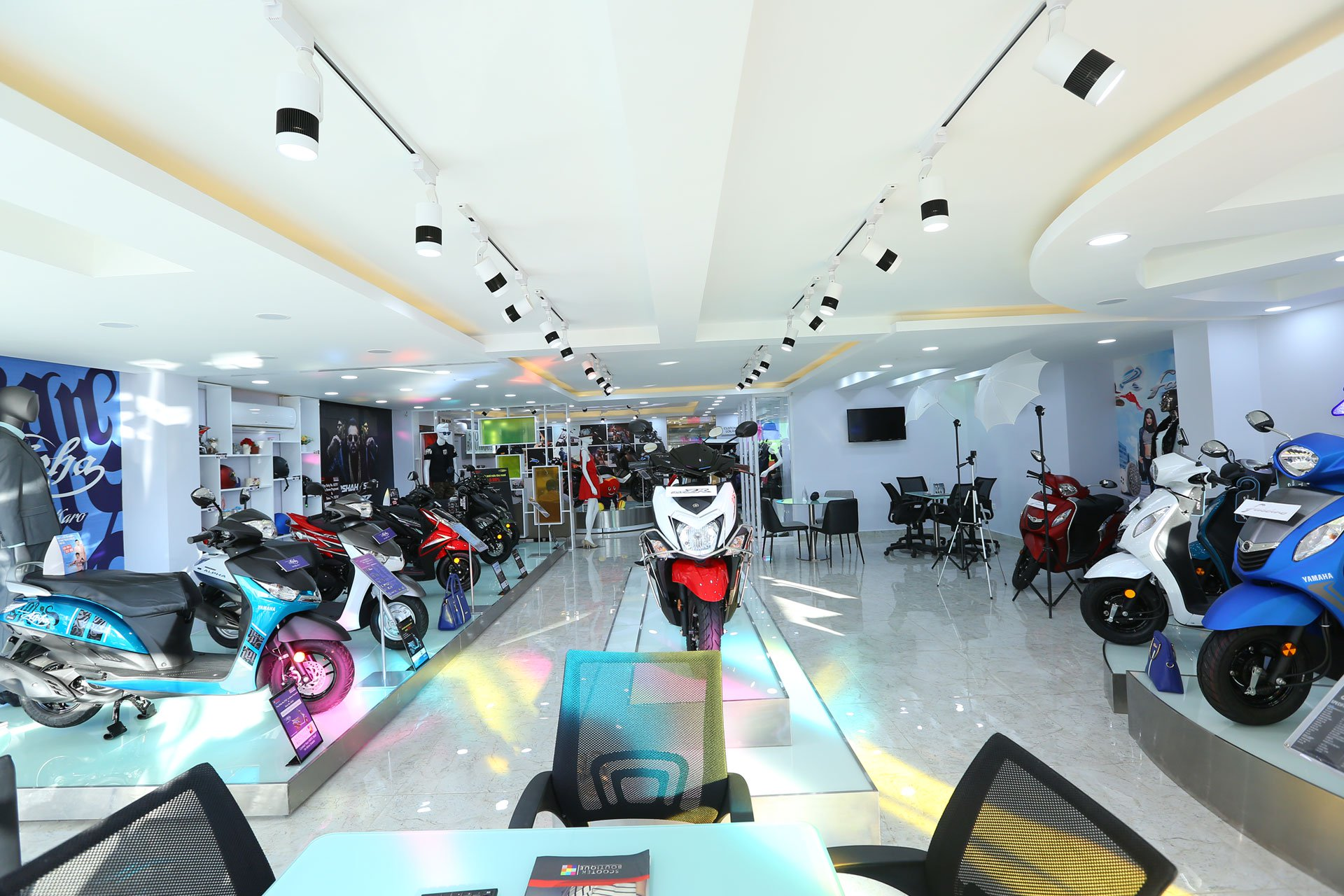 Scooter display facility at the Yamaha Scooter Boutique at Chennai