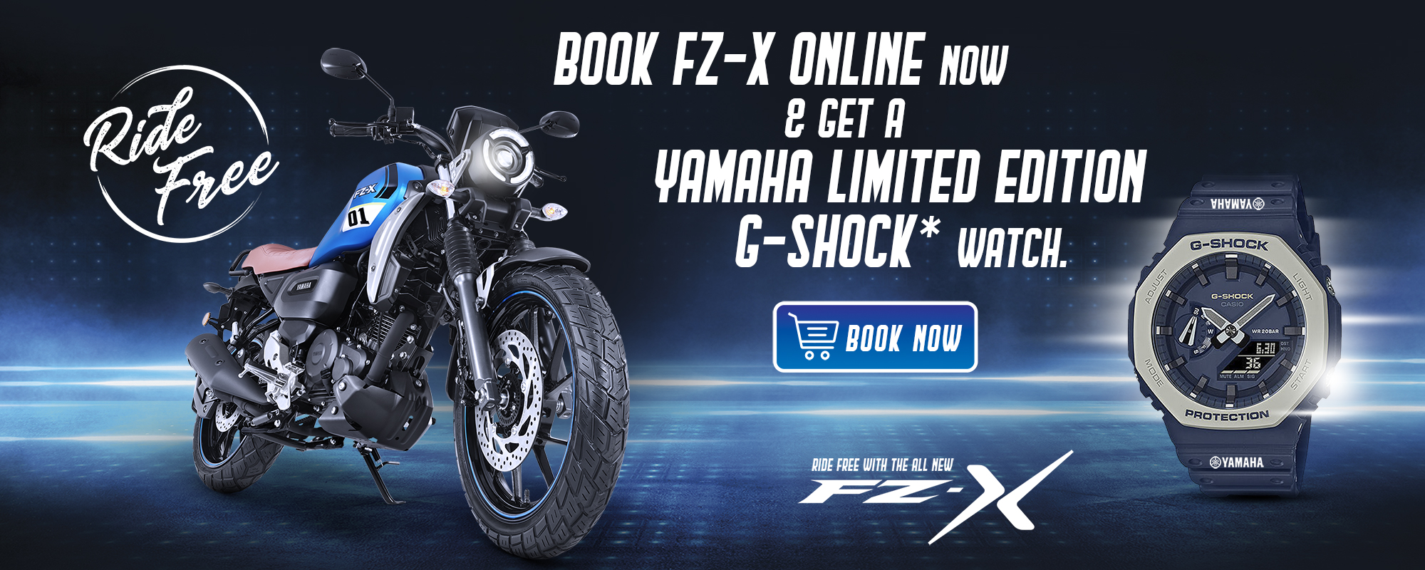 First 200 Customers who will book online will get limited edition Yamaha G-Shock watch